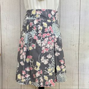 Talbots Skirt Pleated Grey Pink Floral Size 2P